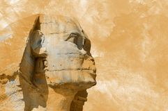 Hoofdsfinx Egyptische aquarelle grunge achtergrond stock foto