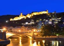 Hoofdstad van Georgië - Tbilisi bij nacht Royalty-vrije Stock Foto's