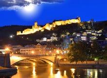 Hoofdstad van Georgië - Tbilisi bij nacht Royalty-vrije Stock Foto
