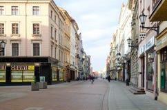 Hoofdstraat in Torun (Polen) stock foto's