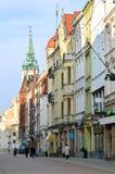Hoofdstraat in Torun (Polen) stock foto