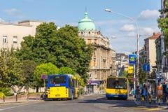 Hoofdstraat van de stad Bussen op de straat, Belgrado, Servië royalty-vrije stock fotografie