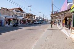 Hoofdstraat van Lagas-stad op Zakynthos, Griekenland Royalty-vrije Stock Fotografie