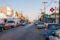 Hoofdstraat van Lagas-stad op Zakynthos, Griekenland Stock Afbeelding