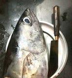 Hoofdstuk van groot tonijnvissen en mes stock foto
