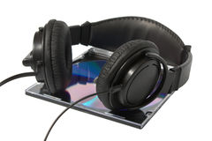 Hoofdtelefoon en CD Stock Foto