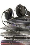 Hoofdtelefoon en CDinzameling Stock Afbeeldingen