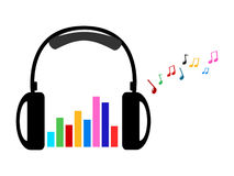 Hoofdtelefoon en kleurrijke volume en muzieknota's Stock Foto