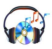 Hoofdtelefoon met CDmuziek Royalty-vrije Stock Foto's
