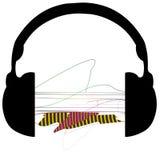 Hoofdtelefoons abstracte muziek Stock Afbeelding