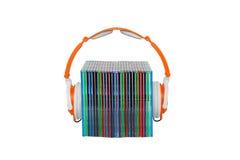 Hoofdtelefoons en cd's Stock Foto's