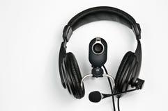 Hoofdtelefoons en webcam Royalty-vrije Stock Afbeelding