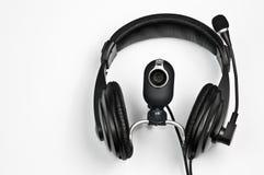 Hoofdtelefoons en webcam Stock Afbeelding