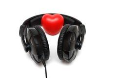 Hoofdtelefoons met binnen hart Royalty-vrije Stock Foto