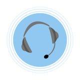 Hoofdtelefoons met een microfoon op een blauwe cirkel Vlak pictogram Stock Foto