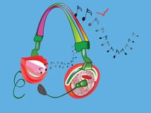 Hoofdtelefoons met vrouwelijke lippen vector illustratie
