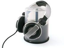 Hoofdtelefoons op massa CD schijven Stock Afbeeldingen