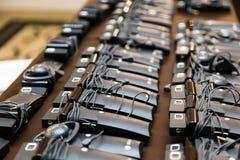 Hoofdtelefoons voor gelijktijdige vertaling royalty-vrije stock afbeeldingen
