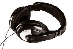 Hoofdtelefoons - zwarte royalty-vrije stock fotografie