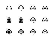 Hoofdtelefoonspictogrammen op witte achtergrond Stock Afbeeldingen