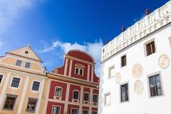 Hoofdvierkant van Cesky Krumlov, Bohemen, Tsjechische Republiek Stock Fotografie