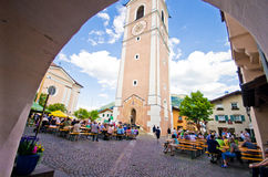 Hoofdvierkant van de Castelrotto het oude stad Royalty-vrije Stock Fotografie