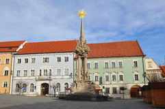 Hoofdvierkant van stad Mikulov Tsjech royalty-vrije stock afbeelding