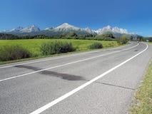 Hoofdweg die tot Hoge Tatras in de zomer leiden Royalty-vrije Stock Afbeelding