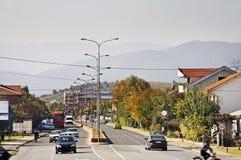 Hoofdweg in Gevgelija macedonië royalty-vrije stock afbeelding