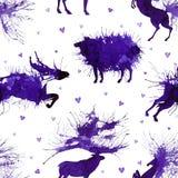 Hoofed ζώα Ελάφια, άγριος ταύρος, πρόβατα και άλογο στο υπόβαθρο με τις καρδιές Φυσικά cliparts διανυσματική απεικόνιση