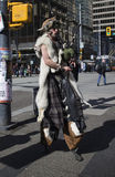 Hoofed bagpipe player in downtown Vancouver - front Stock Images