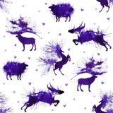 Hoofed dieren Herten, wilde stier, schapen en paard op de achtergrond met harten Derde versie Natuurlijke cliparts royalty-vrije illustratie