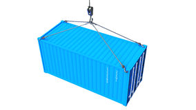 Hoog - 3D de kwaliteit geeft verschepende container terug tijdens vervoer Stock Afbeelding
