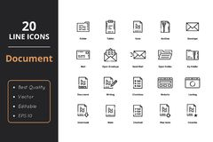 20 hoog - de Lijnpictogrammen van kwaliteitsdocumenten Royalty-vrije Stock Afbeeldingen