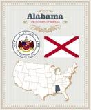 Hoog gedetailleerde die vector met vlag, wapenschild, kaart wordt geplaatst van Alabama Amerikaanse affiche De kaart van de groet Stock Foto's