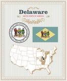 Hoog gedetailleerde die vector met vlag, wapenschild, kaart wordt geplaatst van Delaware Amerikaanse affiche De kaart van de groe stock illustratie