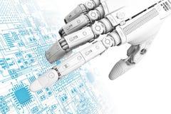 Hoog gedetailleerde robotachtige hand wat betreft digitale kringsraad met index finge Royalty-vrije Stock Fotografie