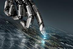 Hoog gedetailleerde robotachtige hand wat betreft digitale kringsraad met index finge Stock Fotografie