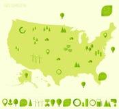 Hoog gedetailleerde van de de kaartecologie van Verenigde Staten ecopictogrammen stock illustratie