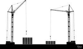 Hoog gedetailleerde vector die die kranen hijsen op wit worden geïsoleerd vector illustratie