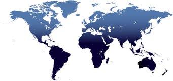 Hoog gedetailleerde wereldkaart Stock Afbeelding
