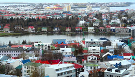 Hoog-hoekmening van Reykjavik, de hoofdstad van IJsland Stock Afbeelding