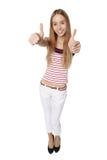 Hoog hoekperspectief van een gelukkige glimlachende jonge vrouw die omhoog kijken Stock Afbeeldingen