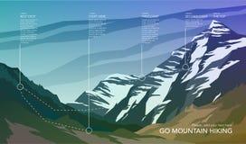 Hoog infographic berglandschap Stock Afbeeldingen