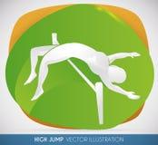 Hoog Jumper Silhouette die een Grote Sprong, Vectorillustratie doen Stock Afbeeldingen