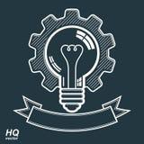 Hoog - kwaliteits vector gloeilamp met radertjewiel productie stock illustratie