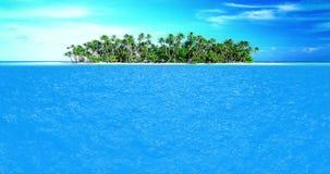 Hoog - kwaliteits volkomen naadloze lijn van overzeese oceaangolvenbeweging in zonnige dag met overzees landeiland op achtergrond
