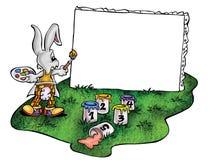 Hoog - kwaliteitsillustratie van de kunstenaarsmascotte van het konijntjeskonijn, dekking, achtergrond, behang royalty-vrije illustratie