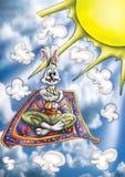 Hoog - kwaliteitsillustratie van de mascotte van Alladin van het konijntjeskonijn, dekking, achtergrond, behang stock illustratie