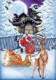Hoog - kwaliteitsillustratie van Kerstmisnacht voor Kerstmis en nieuwe yer prentbriefkaaren, dekking, achtergrond, behang stock illustratie